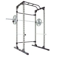 Progear Power Strength 800lb Weight Capacity Power Cage with Lock-in J-Hooks and With Power Lat Pull Down and Low Row Cable Attachment