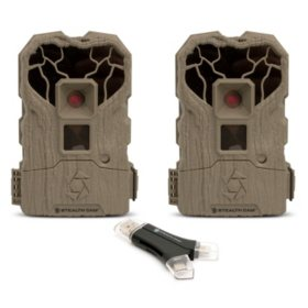 Stealth Cam XS14 14mp Trail Camera with 4-1 Card Reader, 2 Pack (Various Styles)
