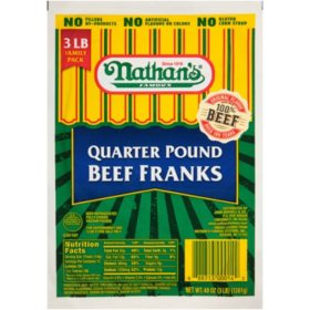Nathan's Famous Quarter-Pound Beef Franks (12 ct., 3 lbs.)