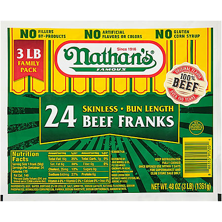 Nathan's Famous Skinless Beef Franks (3 lbs.)