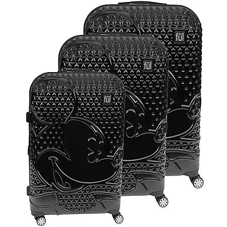 FUL © DISNEY Textured Mickey Hard Sided 3 Piece Luggage Set