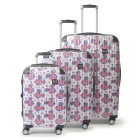 FUL Disney Minnie Mouse Floral Hardsided Rolling Luggage 3 Piece Set