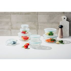 Member's Mark 16-Piece Round Shape Glass Food Storage Set by Glasslock