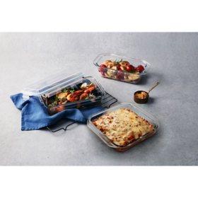 Glasslock 6-Piece Glass Bakeware Food Storage Set