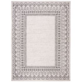 Courtyard Collection Rug - Black and Beige, 8' x 11'