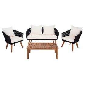 Safavieh Velso 4-Piece Outdoor Dining Set, Black/Beige