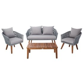 Safavieh Velso 4-Piece Outdoor Dining Set, Gray