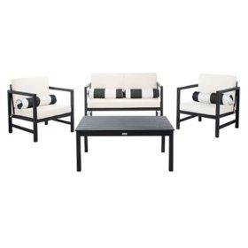 Safavieh Montez 4-Piece Outdoor Dining Set, Black/Beige