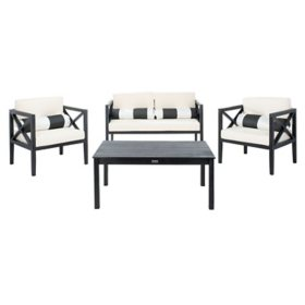 Safavieh Nunzio 4-Piece Outdoor Dining Set, Black/Beige