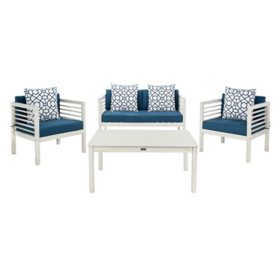 Safavieh Alda 4-Piece Outdoor Dining Set, White/Navy