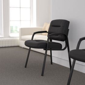 Flash Fundamentals Black LeatherSoft Executive Reception Chair, BIFMA Certified