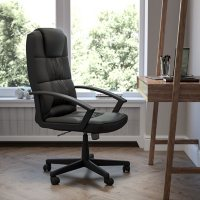 Flash Fundamentals High Back Black LeatherSoft-Padded Task Office Chair, BIFMA Certified