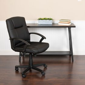 Flash Fundamentals Mid-Back Black LeatherSoft-Padded Task Chair, BIFMA Certified
