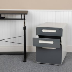 Ergonomic 3-Drawer Mobile Locking Filing Cabinet with Anti-Tilt Mechanism, Assorted Colors