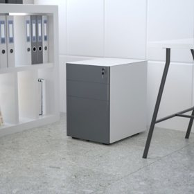 Modern 3-Drawer Mobile Locking Filing Cabinet with Anti-Tilt Mechanism, Assorted Colors