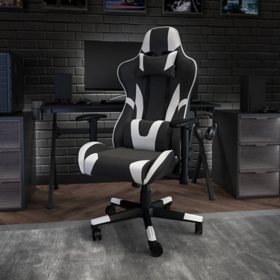 X20 Ergonomic, Adjustable Swivel Computer/Gaming Chair with Fully Reclining Back, Black LeatherSoft
