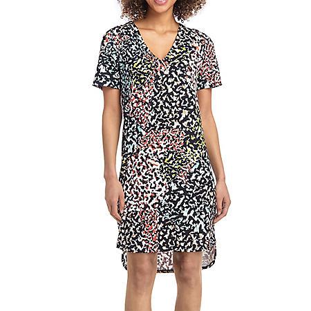 Christian Siriano Short Sleeve Printed Dress