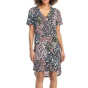 Christian Siriano Short Sleeve Printed Dress