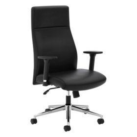 basyx VL108 Executive Leather High-Back Chair, Black