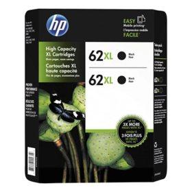 HP 62XL High Yield Original Ink Cartridge, Black, 2 Pack, 600 Page Yield