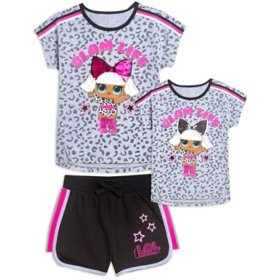 Licensed Girl's 2PC Reversible Sequin Tee and Short Set