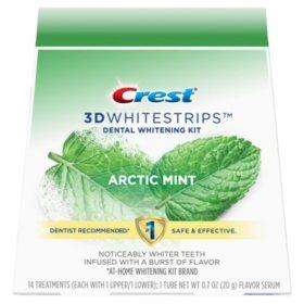 Crest 3D Whitestrips Arctic Mint, Dental Whitening Kit + 1 Tube of Flavor Serum (28 ct.)