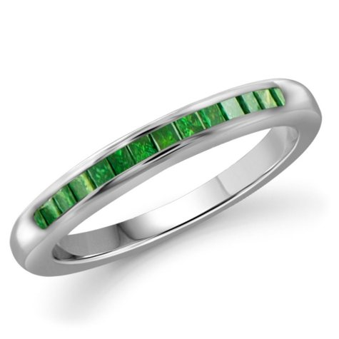 0.25 ct. t.w. Green Diamond Band Ring in Sterling Silver