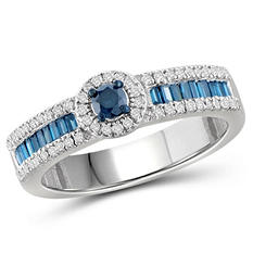 0.50 ct. t.w. Blue and White Diamond Engagement Ring in Sterling Silver