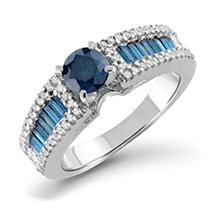 1.25 CT. Blue and White Diamonds Ring in 14KW 8