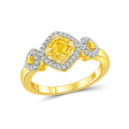 0.50 CT. T.W. Yellow and White Diamond Fashion Ring in 14K Yellow Gold
