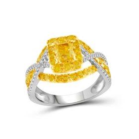 1.50 CT. T.W. Yellow and White Diamond Fashion Ring in 14K White Gold