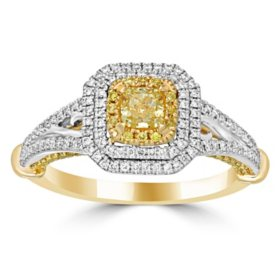 1.00 CT. T.W. Yellow And White Diamond Fashion Ring in 14K Yellow Gold