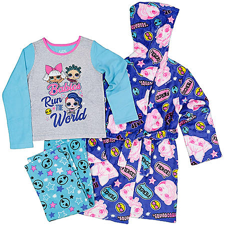 Licensed Girls 3-Piece Robe and Pajama Set