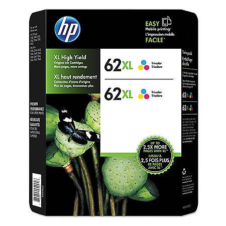 HP 62XL Tri-Color Original Ink Cartridge, 2 Pack