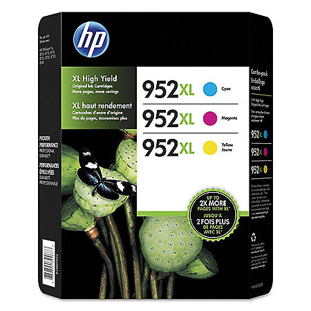 HP 952XL High Yield Original Ink Cartridges, Cyan/Magenta/Yellow, 3 Pack