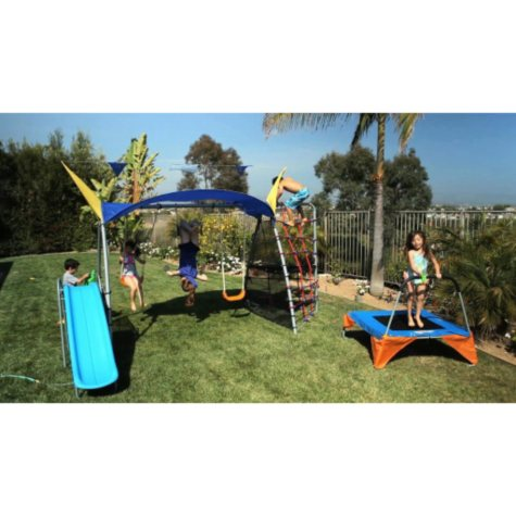 Ironkids Premier 550 Fitness Playground Metal Swing Set with UV Protective Sunshade and Refreshing Mist