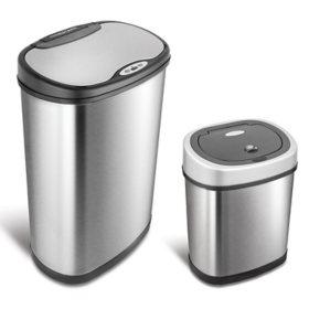 Nine Stars Sensor Trash Cans, Stainless Steel  (13.2 gal./3.2 gal.)