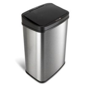Nine Stars 13.2 Gallon Stainless Steel Motion Sensor Trash Can, Choose a Lid Color