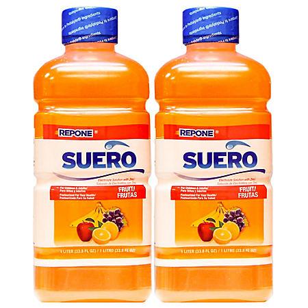 Repone Suero Electrolyte Solution, Fruit (33.8 fl. oz., 2 pk.)