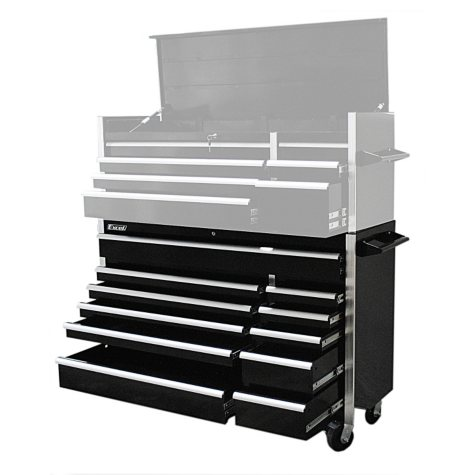 """Excel Black Heavy Duty Roller Cabinet with 12 Slide Drawers 56"""" x 20.1"""" x 39.7"""""""