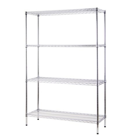 "Excel NSF-Certified Heavy-Duty 4-Level Wire Shelving - 48"" x 72"" x18"" (Chrome or Black)"