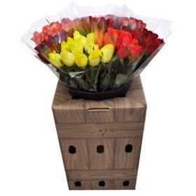 Prewrapped Bouquets with Dozen Roses and Display Box (10 bouquets)