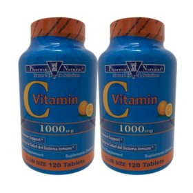 Pharma Natural Vitamin C 1000mg Tablets (120 ct. ea., 2 pk.)