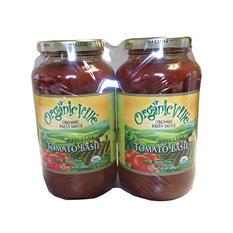 Organicville Organic Pasta Sauce, Tomato Basil (24 oz. jars, 2 pk.)
