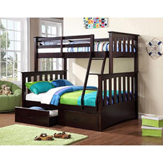 Newbury Twin-Over-Full Bunk Bed with Under the Bed Storage Drawers