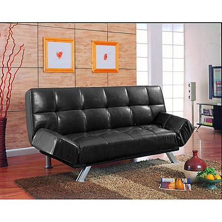 Nelson Black Bi-Cast Leather Convertible Sofa - Sam\'s Club