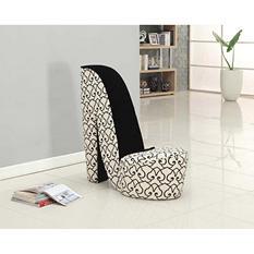 Panache Velvet Fabric Black And White Shoe Shaped Chair