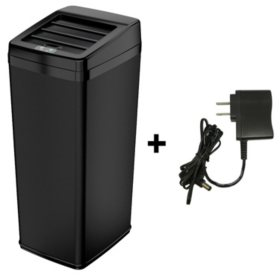iTouchless Automatic Sensor Trash Can with Space Saving Lid, Black Steel (14 gal)