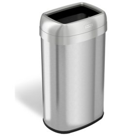 "iTouchless Dual-Deodorizer Oval Open Top Trash Can, Stainless Steel (16 gal., 12"" opening)"