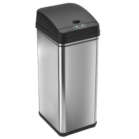 iTouchless Deodorizer Filtered Infrared Sensor Automatic Touchless Trash Can - Stainless Steel - 13 gal.